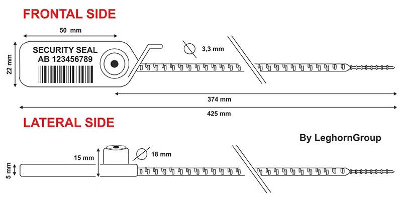 aanrijgverzegeling adjuste seal rfid technische tekening