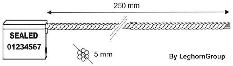 kabel verzegelingen 5x250 mm technische tekening