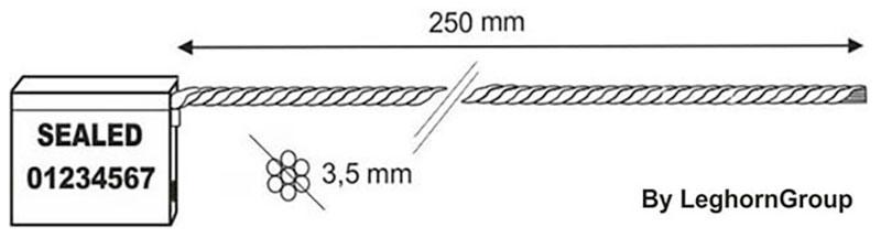 kabel zegels 3.5×250 mm technische tekening