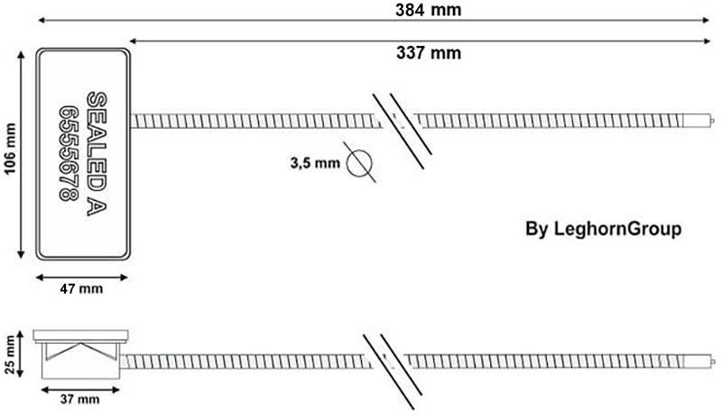 rfid sleutelhouder kabelverzegeling technische tekening