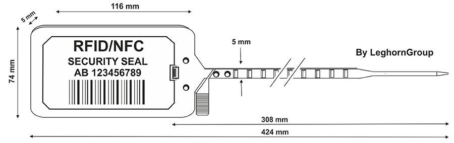 rfid titan seal 5×424 mm technische tekening