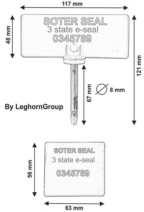 verzegeling rfid 3 state type soter seal technische tekening