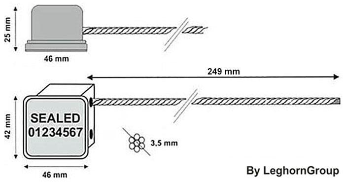 kabelverzegeling rfid minikabel technische tekening